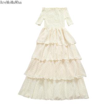 ad6fcebf8d5 Find Deals AreMoMuWha Small Fresh Word Collar Cake Dress Temperament Long  Dress Flocking Little Chiffon Dress Fairy Vestidos De Fiestamh149
