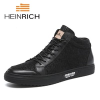 HEINRICH Canvas Shoes Men Boots Leisure High Top Ankle Male Flats Footwear Spring Autumn Social Trend Lightweight Shoes Botas