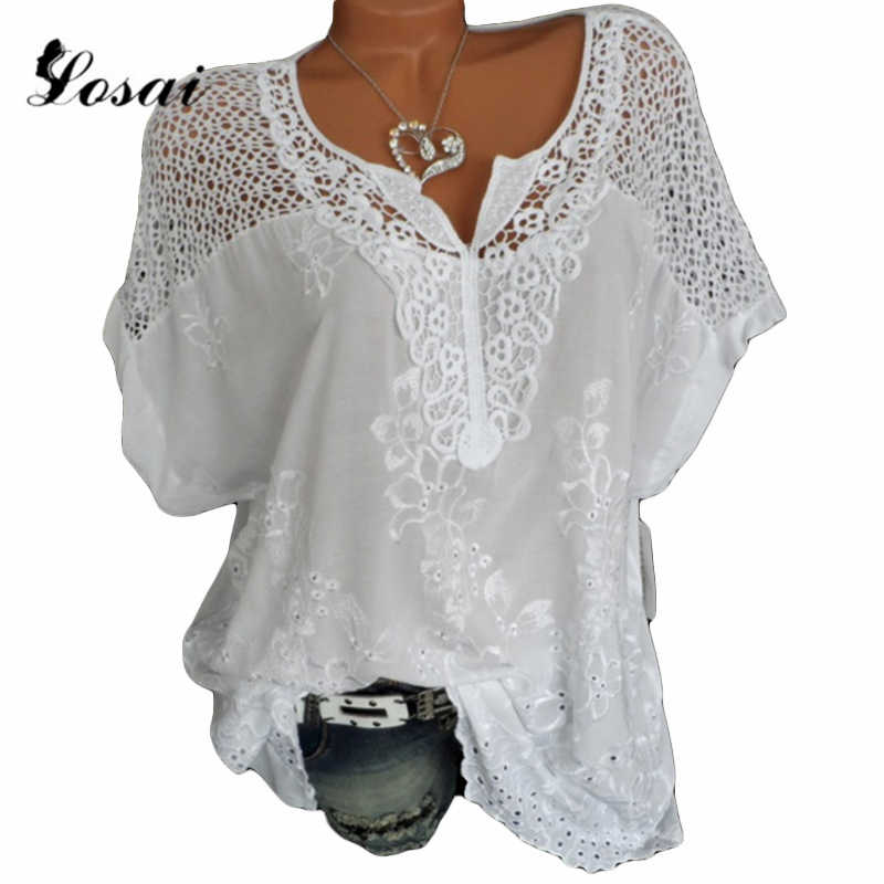 Plus Size 5XL Summer Lace Hollow Out Women Blouse Short Sleeve Shirt Casual Loose Shirts Tops Female White Crochet Blouse