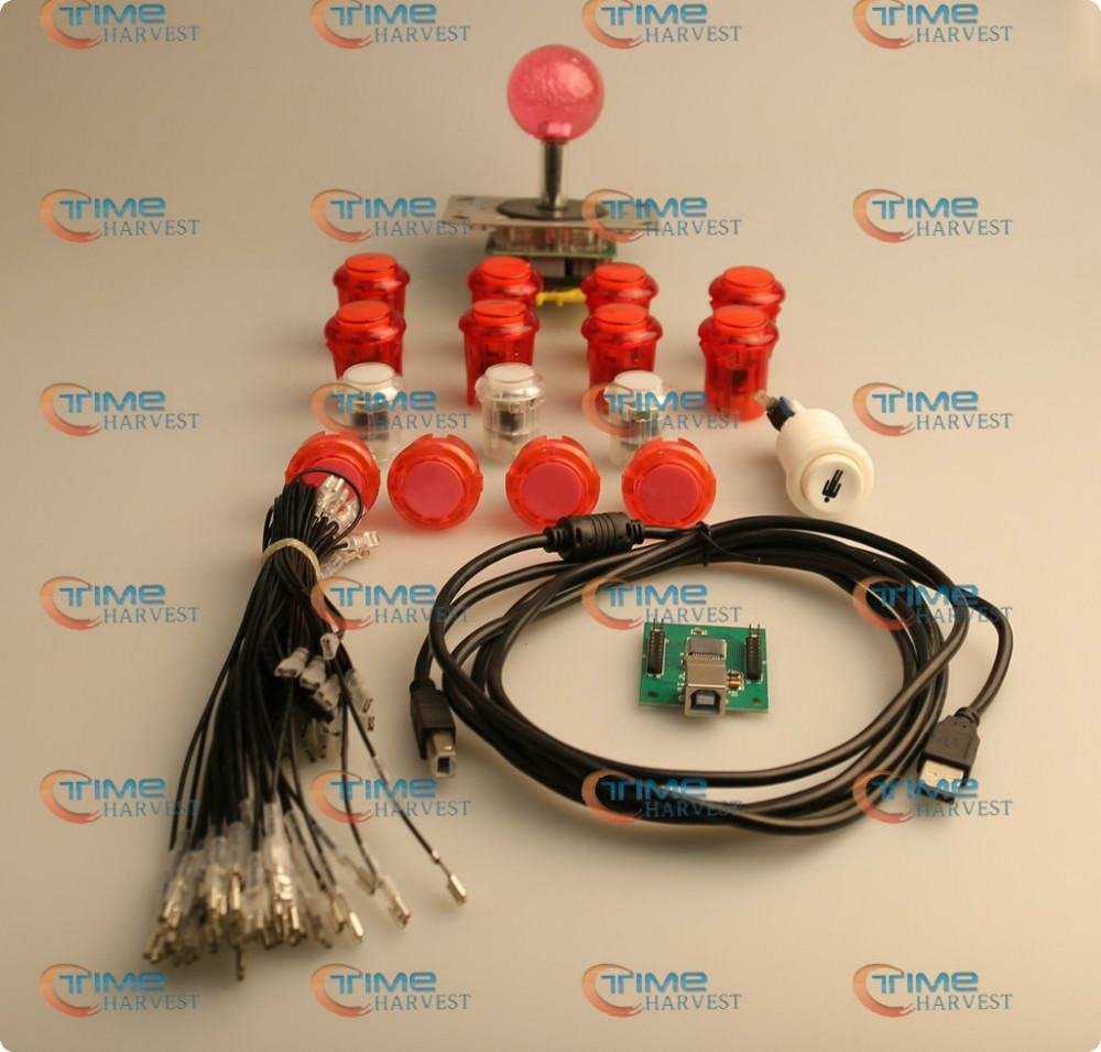 ФОТО Arcade parts Bundles kit With LED lighting Joystick,+5V LED button,USB adapter,wires to build up Fighting Stick game controller