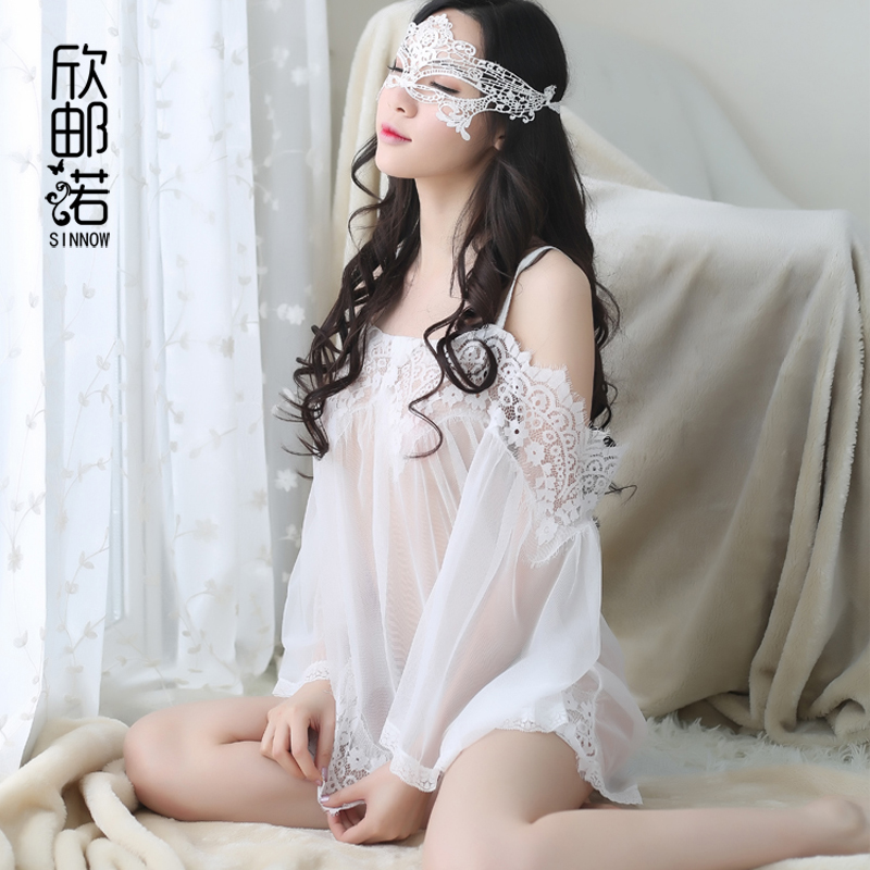 2018 Female Perspective Sexy Nightdress Strapless Lace Transparent Sexy Nightgowns White Lingerie Suits Floral Lace plus size
