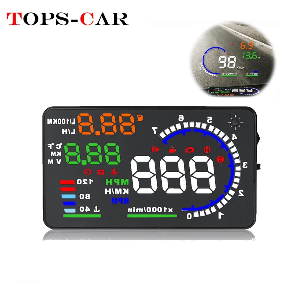 Venda quente a8 5.5 polegada hud obd2 head-up display para carro velocímetro digital brisa projetor alarme de excesso de velocidade