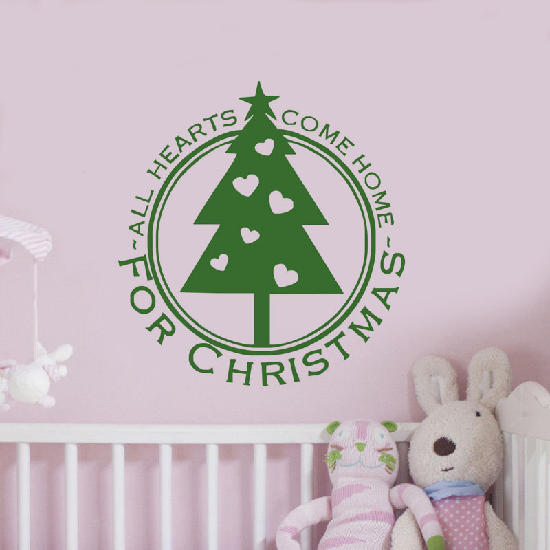 All Hearts Comes Home For Christmas Decoration Wall Sticker For Bedroom Shop Removable Xmas Tree Wall Decal Home Decor