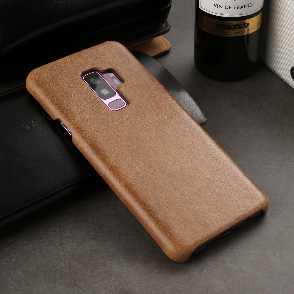 S9 плюс Чехол телефона Ультра Тонкий ретро Стиль Роскошные натуральной кожи задней стороны кожи Защитный чехол для samsung Galaxy S9 плюс S9 coque