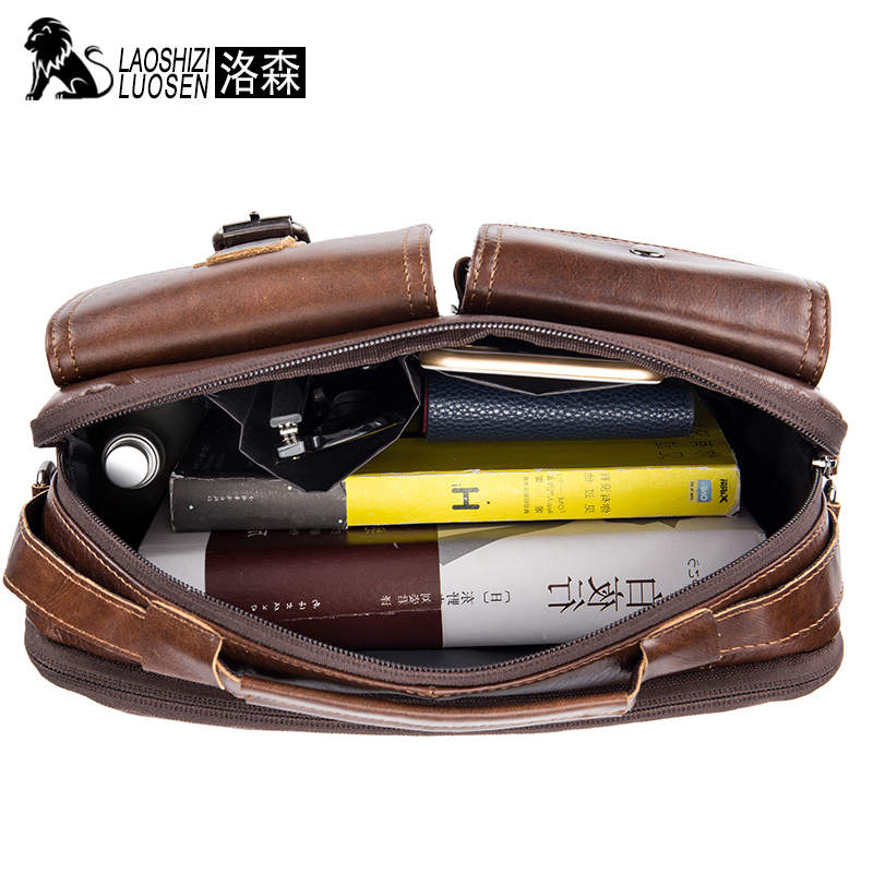 Image 3 - LAOSHIZI Genuine Leather Briefcase Men  Shoulder Bag Soft Cowhide Messenger Bag Vintage Male Handbags Business Tote-in Laptop Bags & Cases from Computer & Office