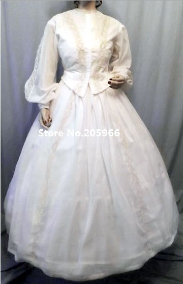 Free Shipping Civil War Victorian 1860s Sheer Lawn Princess Gown