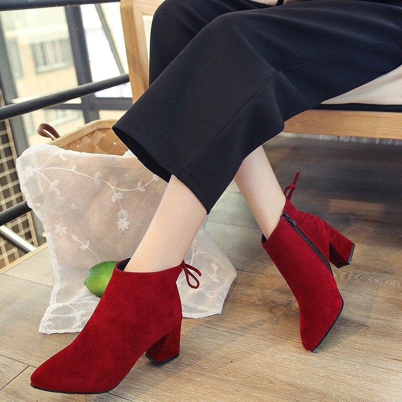 De Femme En Mode Chaussures marron Taille Épais Automne Parti gris Cheville Cuir Dames Flock À rouge Hauts 40 35 Bottes Hiver Noir Suede Talons qEI0tw5t