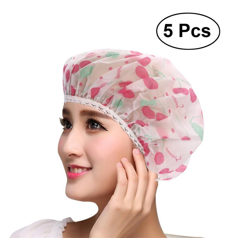 Pet Products Sweet-Tempered Luoem 5pcs Women Waterproof Shower Bath Cap Hat With Bear Bowknot Balloon Cherry Design For Adult