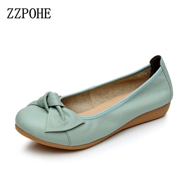 ZZPOHE Shoes Woman 2017 Genuine Leather Women Flats Shoes Fashion Casual Soft Female Comfortable Driving Shoes free shipping