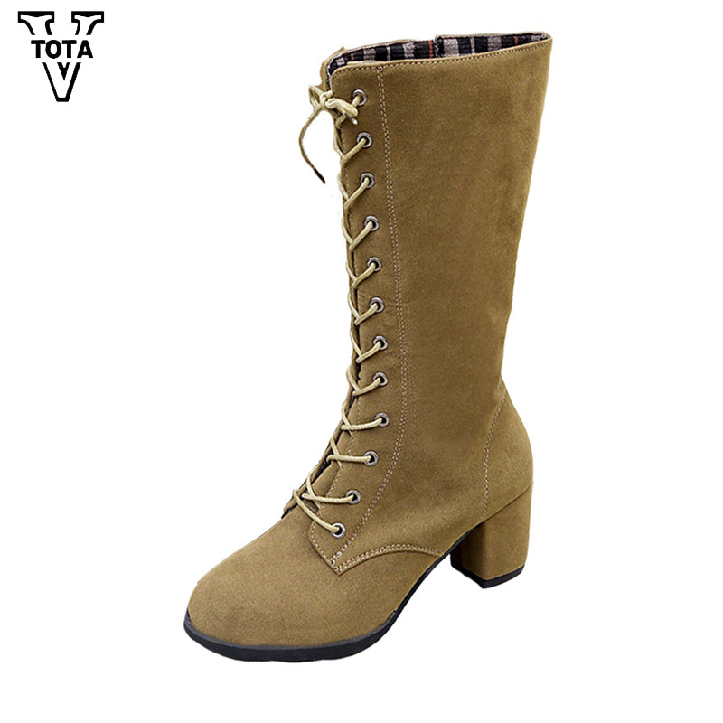 VTOTA Fashion Spring/Autumn Sexy Women Boots Ladies Lace Up Booties Platform Women Shoes Thigh High Heel (6CM) Botas Mujer QY7 high quality genuine leather women shoes spring and autumn high heels women boots hollow out lace ladies fashion boots