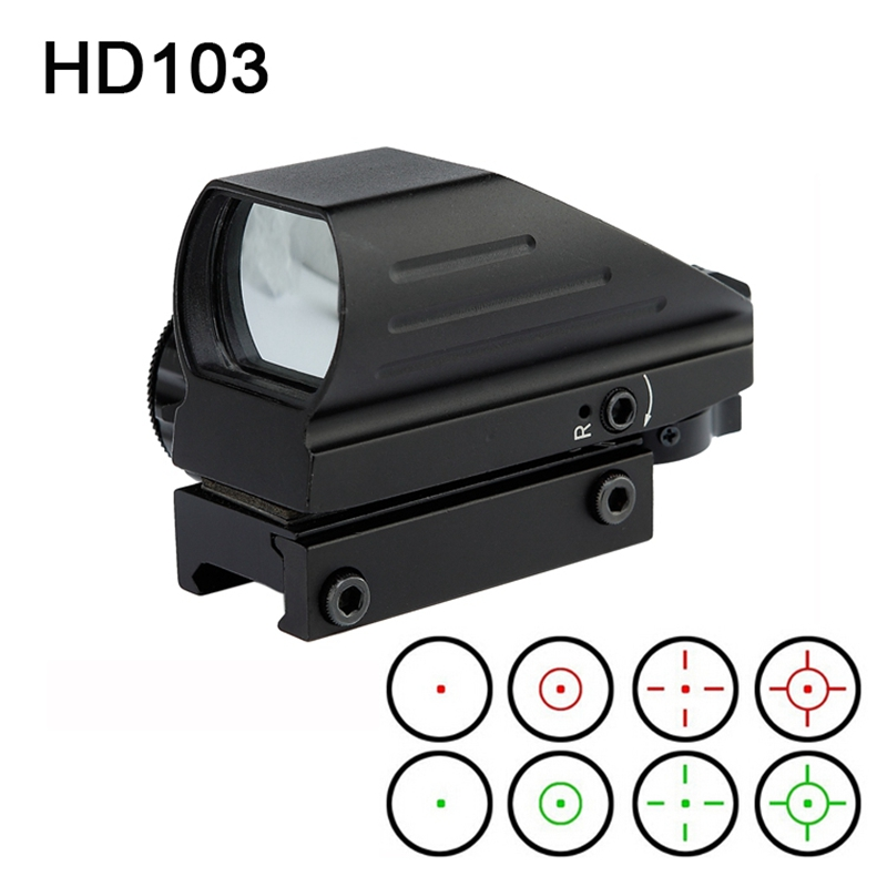 Caccia Ottica 1x22x33 Reflex Red Green Dot Sight Mirino 4 Reticle Sight per Airsoft Weaver 11mm Mount airsoft.gun