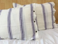 Custom made Pair French chic Pre washed 100% blue and white Striped Linen Pillow Case with shell button