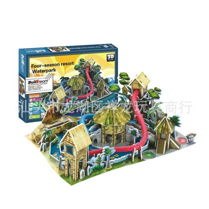 Paper Model Diy water park Enlighten Blocks Construction Brick Block Toys scale models Sets brinquedos playmobil