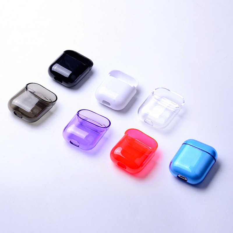 NEW Colorful Transparent Wireless Earphone Charging Box Cover Bag for Apple AirPods Hard PC Protective Case Cover for AirPods