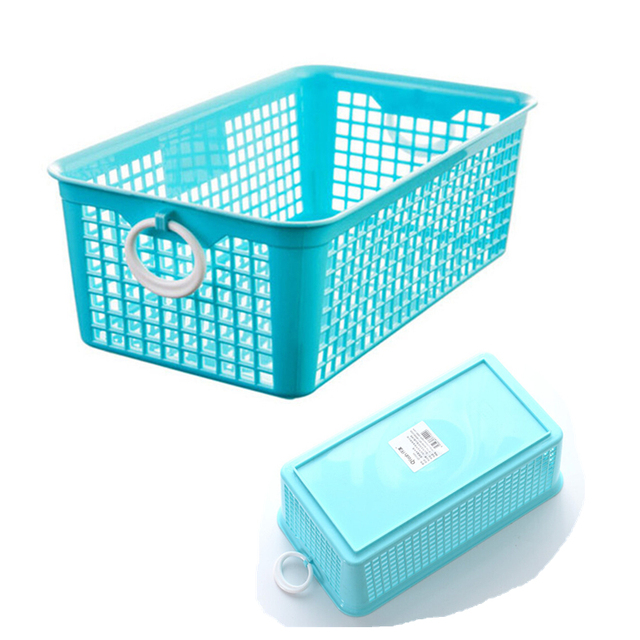 1pc Thicken Kitchen Accessior Sundries Plastic Storage Basket L M S Size Hollow Laundry Desktop Cabinet
