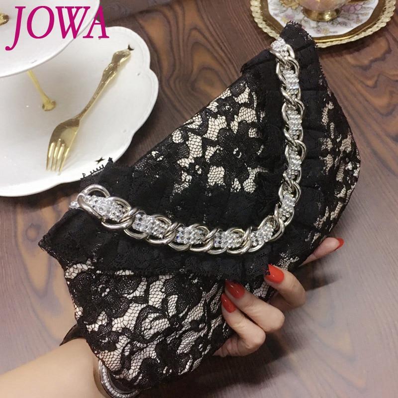 2017 New Design Women's Evening Bags Ladies Diamond Lace Handbag Wedding Party Casual Clutch Black Chain Flap Pocket Night Purse