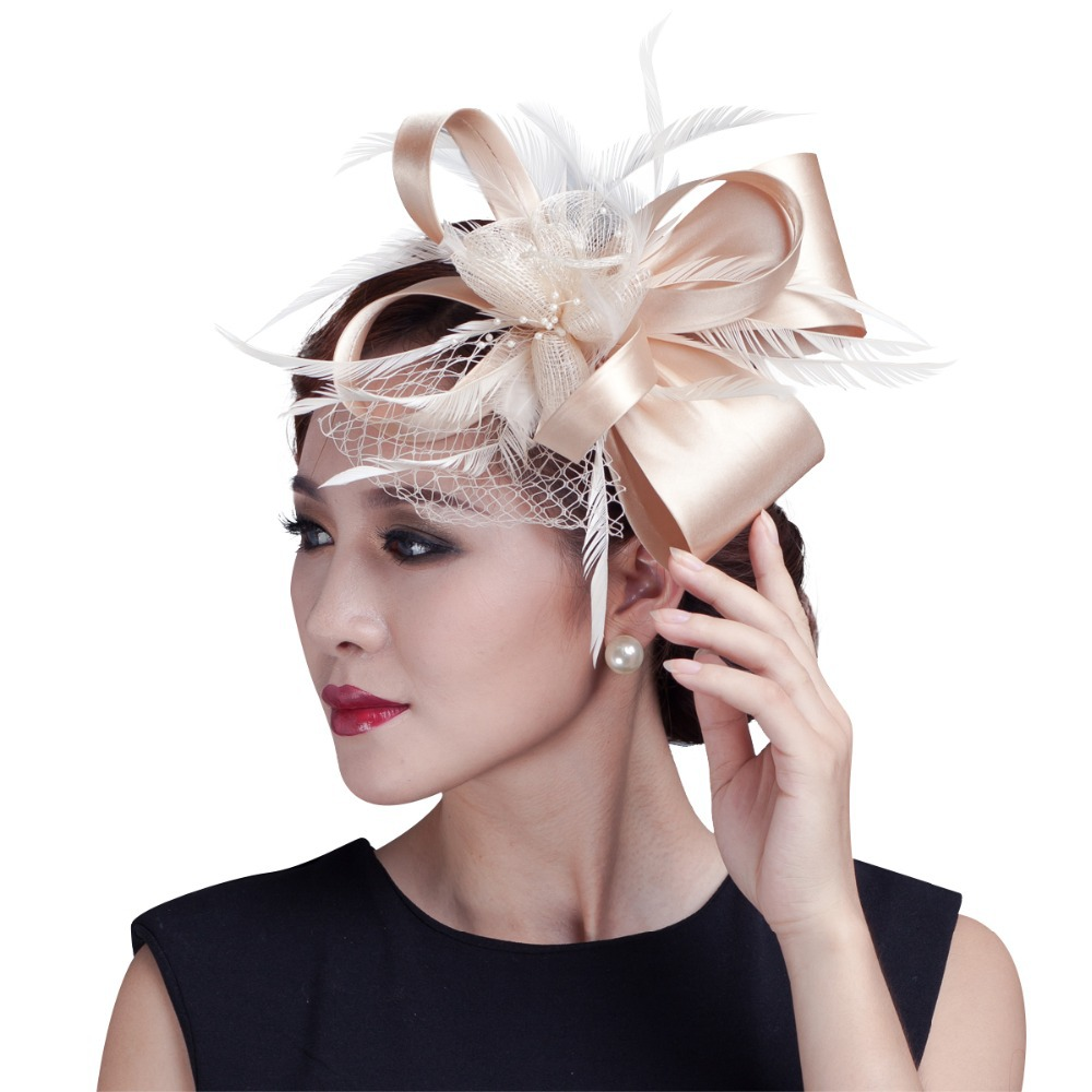 2017 women champagne feather flower Fascinator with bow ladies hair accessories wedding party floral headband Hairpin hair free shipping high quality 2015 mini disc flower sinamay fascinator with feather for race