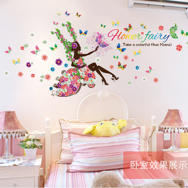 Latest Colorful Flower Fairy Wall Sticker Home Decor For Kids Room Butterfly Princess Decal Sticker On Wall Boudoir Wallpaper In Wall Stickers From