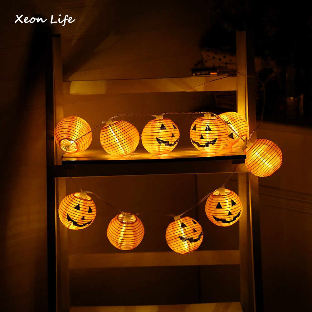 1 Set Pumpkin 10 LED String Lights Halloween Decoration Lights Warm White Halloween Pumpkin Lights Home Decoration хэллоуин