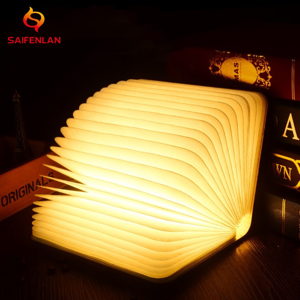 USB Rechargeable Nightlight Warm White LED Wooden/Leather Foldable Mini Book Shape Light Desk Night Lamp For Living Room Decor(China)