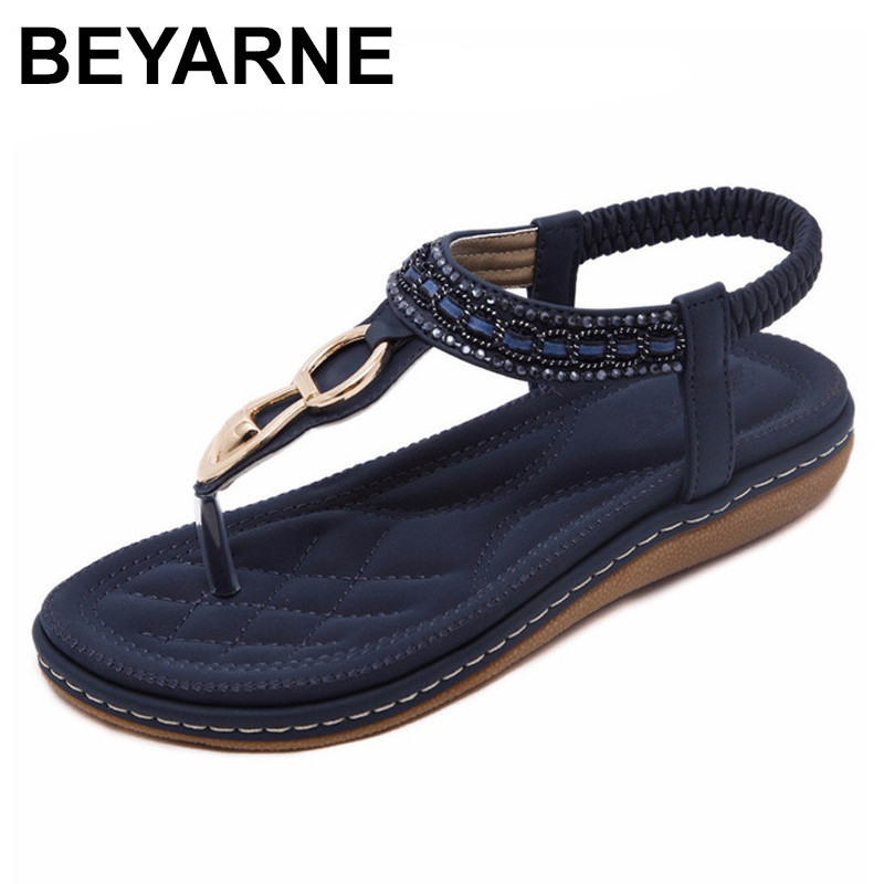 BEYARNE new women Bohemia Flat sandals shoes woman String Bead flip flop Metal Decoration beach sandals casual shoes