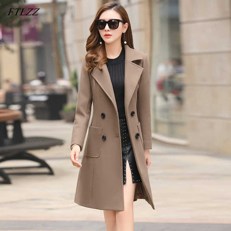 FTLZZ 2019 New Woolen Coats Women Plus Size Long Jackets Winter Spring Female Slim Casual Office Wool Outerwear