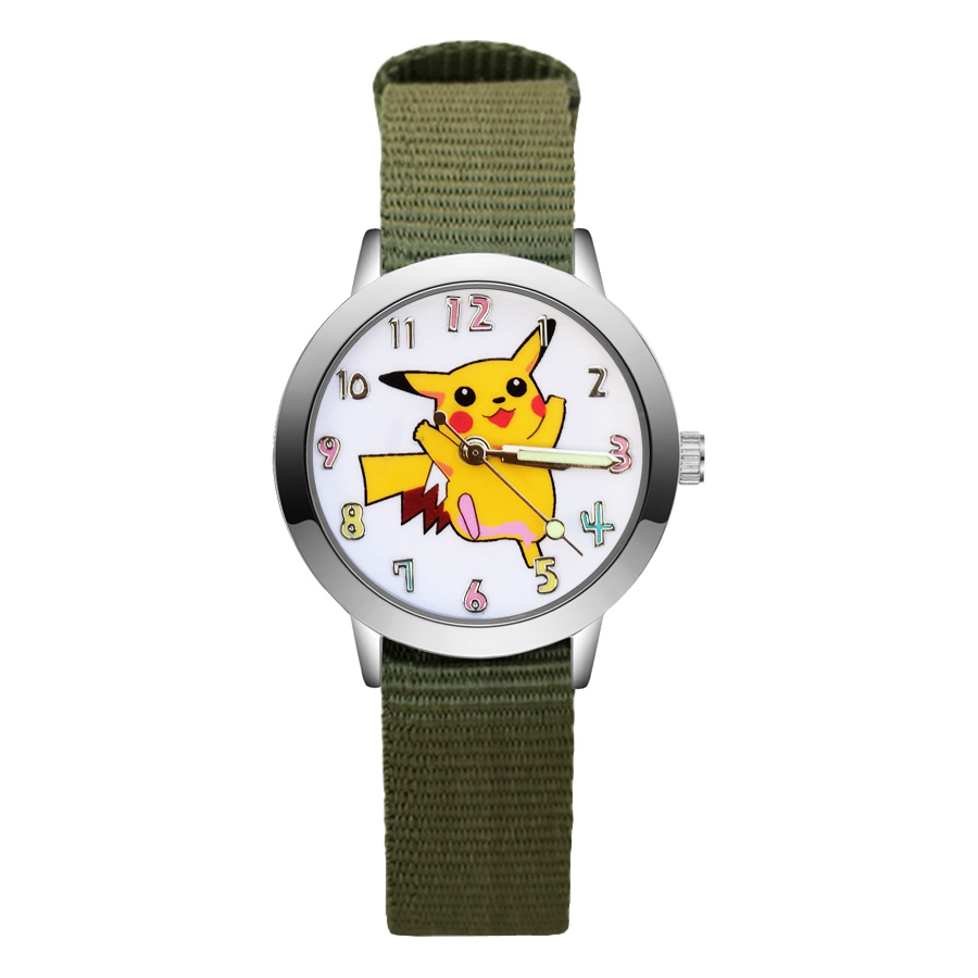 Fashion Cartoon Cute Pikachu style Children's Watches Kids Student Girls Boys Quartz Nylon strap Wrist Watch JA119