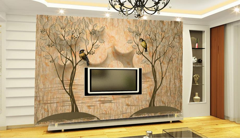 3d Custom Wallpaper Modern Art Circle Abstract tree Flowers and birds Painting Wall Paper For Living Room Bedroom Photo Mural custom baby wallpaper snow white and the seven dwarfs bedroom for the children s room mural backdrop stereoscopic 3d