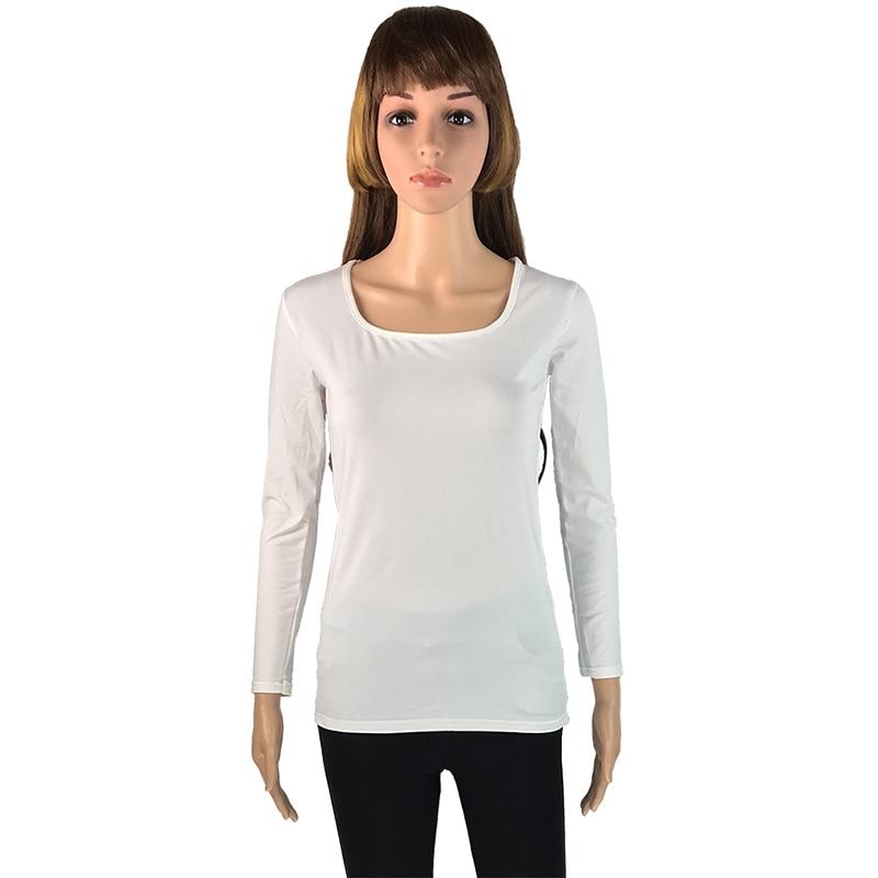 Camiseta Mulheres Manga Longa Encabeça Modas Camiseta Femme Collar - Roupas femininas