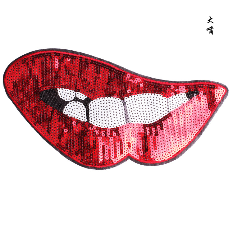 mouth sequins patches