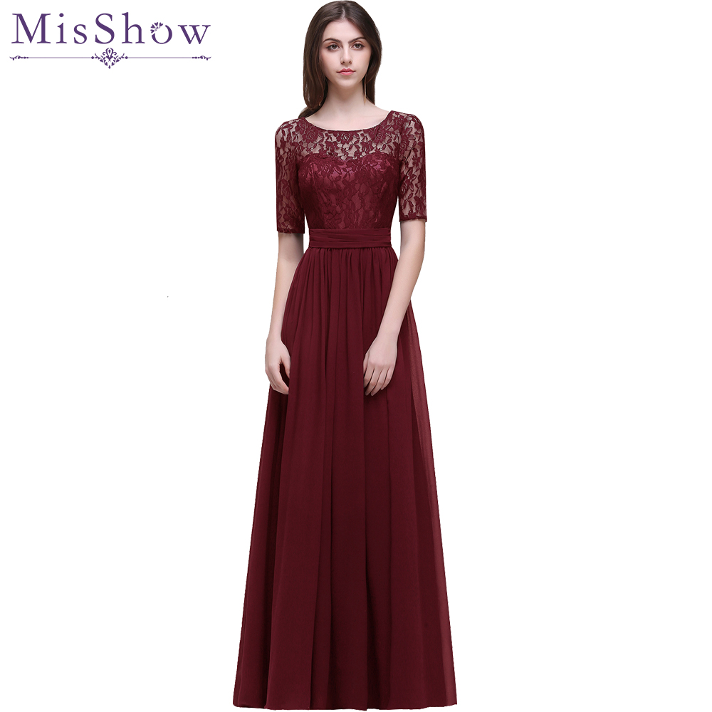 Scoop neck Mother of the bride dresses A line lace evening dress 2019 Burgundy Navy Blue