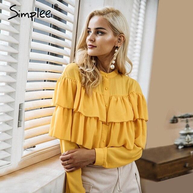 Simplee элегантный оборками белая блузка рубашка женские топы 2017 с длинным рукавом Прохладный Блузка Повседневное blusas Сорочка Роковой blusas Новый