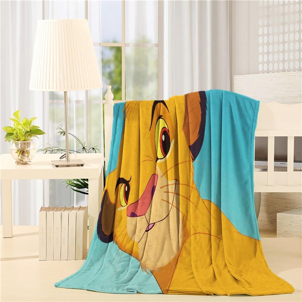 Fashion Custom Lion King Simba  Flannel Throw Blanket Lightweight Cozy Bed Sofa Blankets Super Soft Fabric