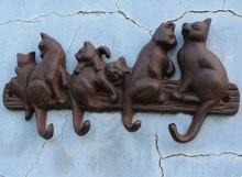 L: 21 CM, gancho de hierro de jardín de pueblo americano para pared, gancho colgante para seis gatos