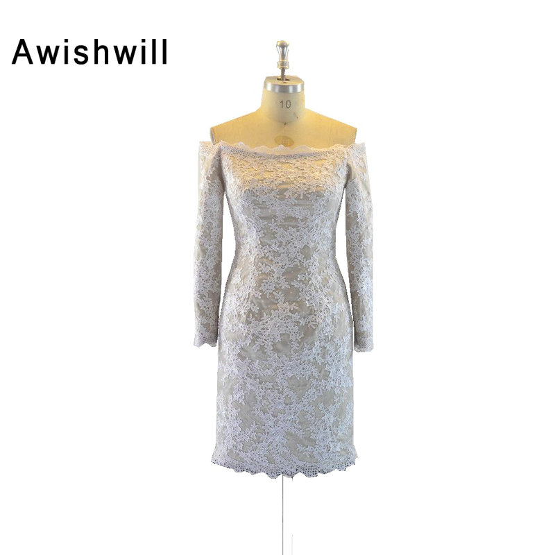 2019 Off the Shoulder Short   Cocktail     Dress   Long Sleeves Satin Lace Elegant Homecoming   Dresses   Robe   Cocktail   Courte Chic
