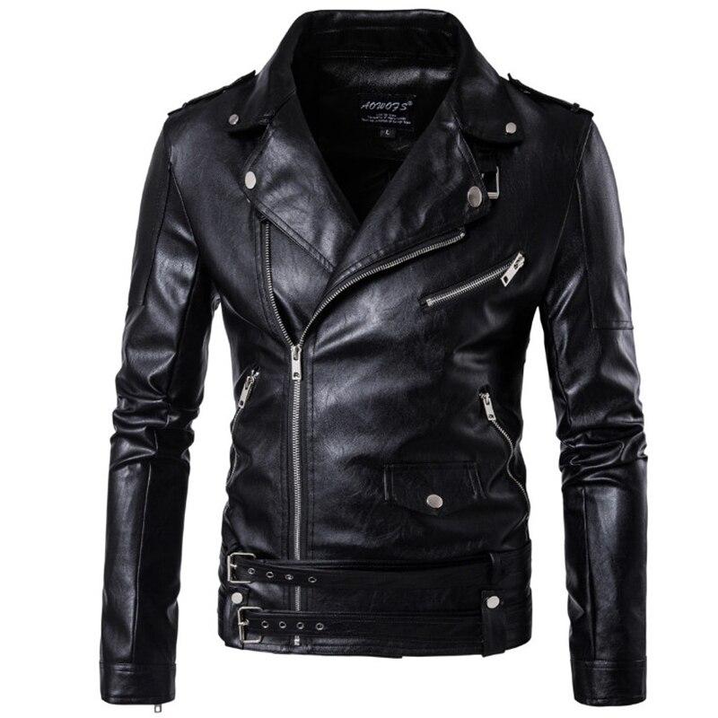 ¡Nuevo diseño de 2019! chaqueta Bomber de cuero para motocicleta para hombre, Otoño, cuello vuelto, chaqueta ajustada de cuero para hombre, abrigos de talla grande M-5XL