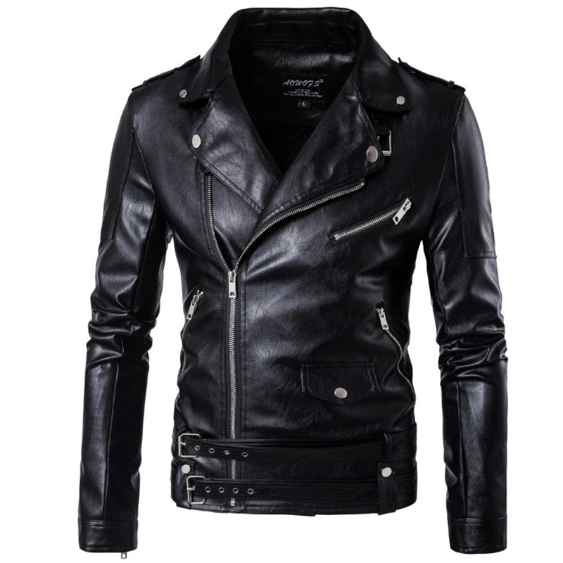 2019 New design Motorcycle Bomber Leather Jacket Men Autumn Turn-  down   Collar Slim fit Male Leather Jacket   Coats   Plus Size M-5XL