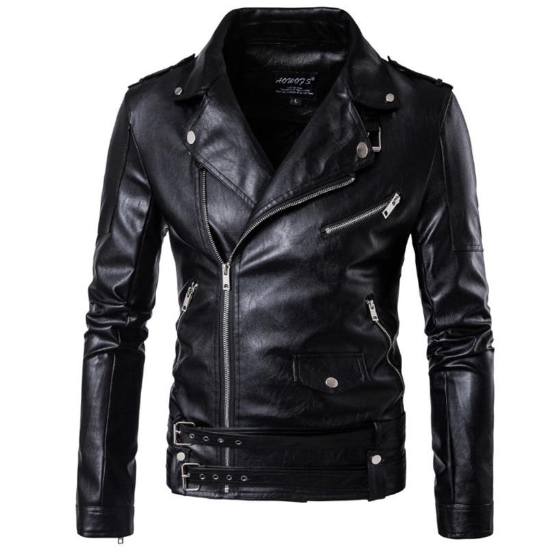 2020 Новый Дизайн мотоциклетная кожаная куртка бомбер мужская Осенняя приталенная кожаная куртка с отложным воротником мужская куртка больших размеров M 5XL|leather jacket men|male leather jacketbomber leather jacket men | АлиЭкспресс