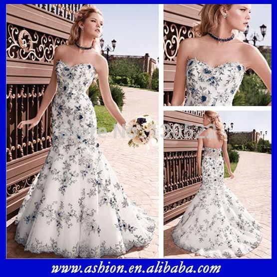 We 1844 free shipping sexy sheer back white and blue for Wedding dress with color accent