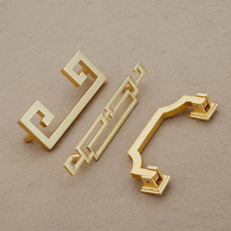 US $4 24 |Vintage Chinese style Sliding door handle Imitation brass knob  drawer pull for interior doors Cabinet Furniture Hardware-in Door Handles