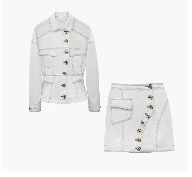 Marbre Pièces Bouton Asymétrique Motif Jupe Surpiqûre Jacket 2 Femmes Denim skirt Deux 2018 Assortie Veste Pcs Contraste Ensemble Avec Top RaqZT7gxCw