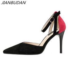 JIANBUDAN/ Pointed Toe Sexy womens professional high heels Ankle strap Shallow fashion summer pumps Womens banquet shoes 34-39