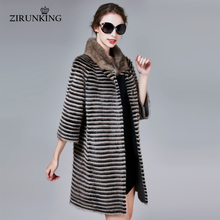 ZIRUNKING Classic Real Mink Fur Coat Female Long Natural Knitted Stripe Parka Autumn Warm Slim Shuba Fashion Clothing ZC1706