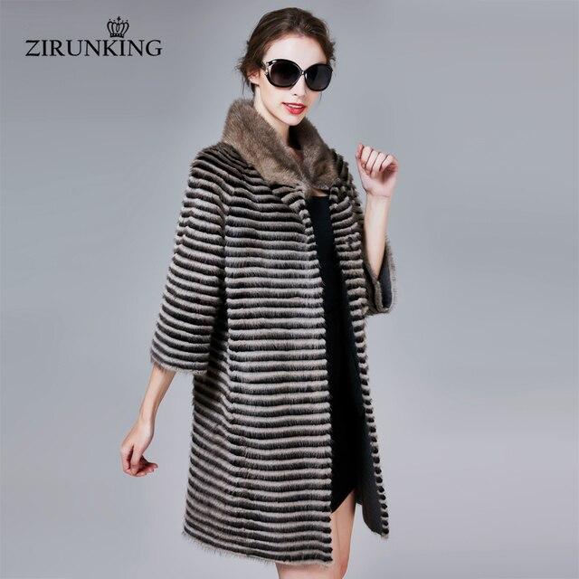 ZIRUNKING קלאסי אמיתי מינק פרווה מעיל נשי ארוך טבעי סרוג פס Parka סתיו חם Slim Shuba אופנה בגדי ZC1706