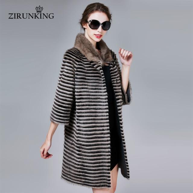 ZIRUNKING abrigo de piel auténtica de visón clásico para mujer, Parka larga de punto Natural a rayas, Otoño, cálido y delgado, ropa de moda, ZC1706