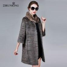 ZIRUNKING klasyczne prawdziwe futro z norek kobiet długa dzianina naturalna w paski Parka jesień ciepła, Slim Shuba modna odzież ZC1706