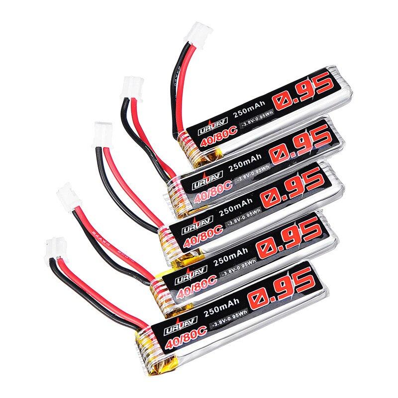 5 pcs URUAV 3.8 v 250 mah 40C/80C 1 s Reachargeable Lipo Batterie PH2.0 Plug pour Eachine US65 UK65 QX65 Mobula7 URUAV UR65