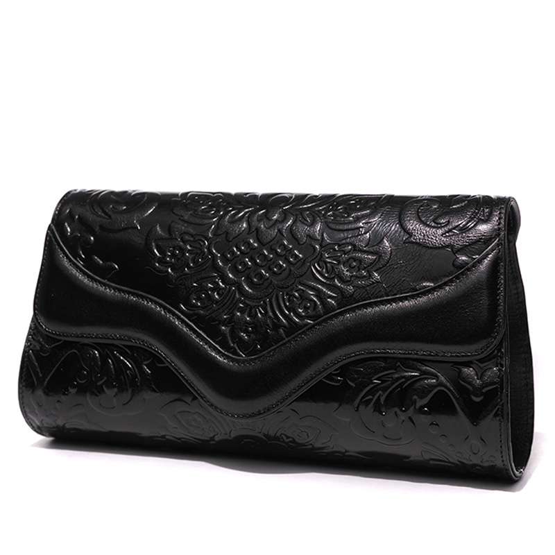 Vintage Celebrity Banquet Clutches Wallet Embossing Genuine Leather Handbag Clutch Purse Woman's Shoulder Crossbody Bag Wristlet vintage serpentine genuine leather woman clutches evening bag crossbody chain shoulder bag handbag clutch wallet lady long purse