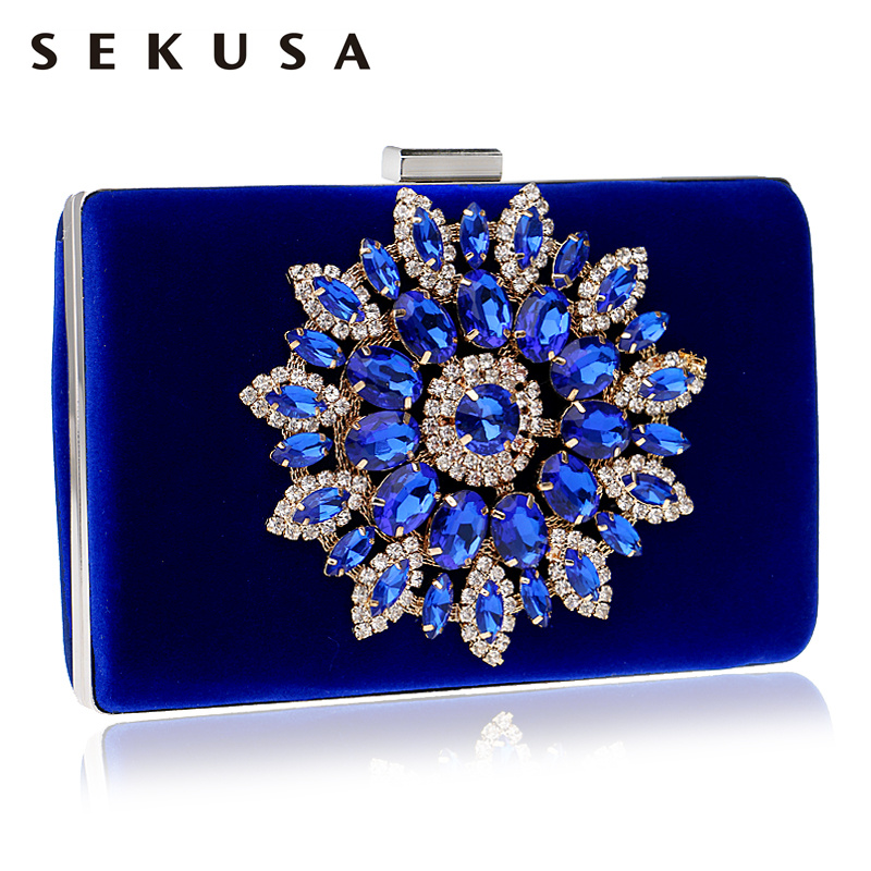 SEKUSA Flower Rhinestones Women Handbags Red Black Purple Gold Chain Shoulder Bags Metal Day Clutches Purse Wedding Wallets(China)