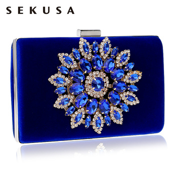 SEKUSA Flower Rhinestones Women Handbags Red Black Purple Gold Chain Shoulder Bags Metal Day Clutches Purse Wedding Wallets